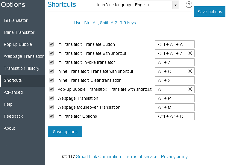ImTranslator Dictionary: shortcuts | שפות | Language, Texts