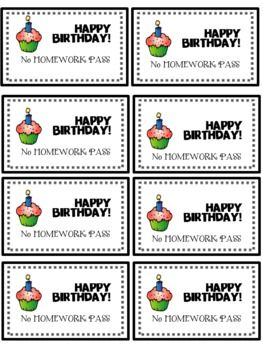 graphic regarding Free Printable Homework Pass called Birthday No Research P FREEBIE Instruction Guidelines and