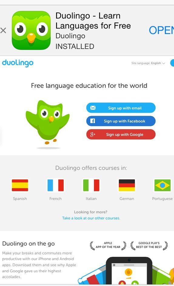 The Duolingo app is a free languagelearning and text