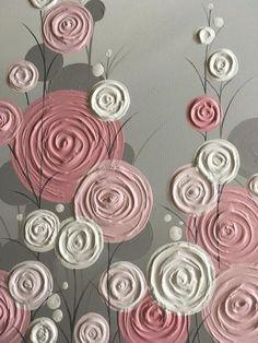 Pink and Grey Modern Flower Art, Original Painting