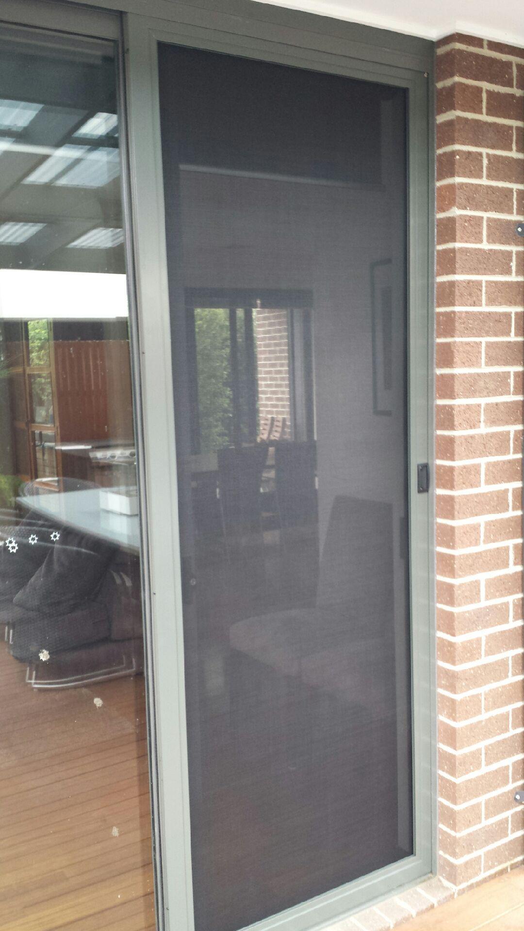 Aluminum frame screen sliding door with pet mesh , installed