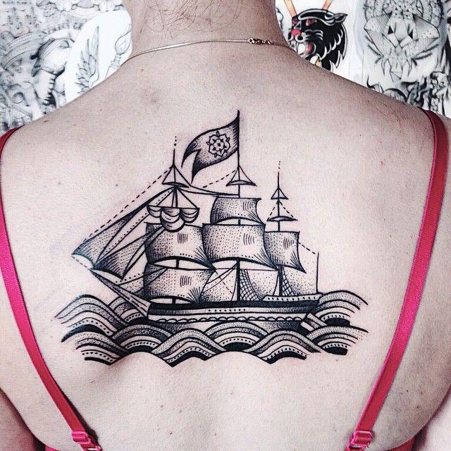 Ship Tattoo By Jessica Svartvit http://tattoos-ideas.net/ship-tattoo-by-jessica-svartvit/
