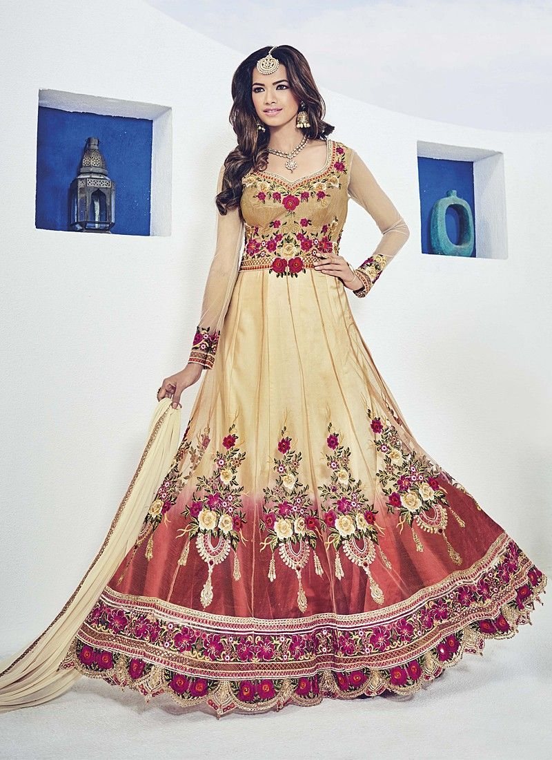 Gratifying Beige Coloured Net Embroidery Indian Designer Gown At Best Price By Uttamvastra - Online Shopping For Women