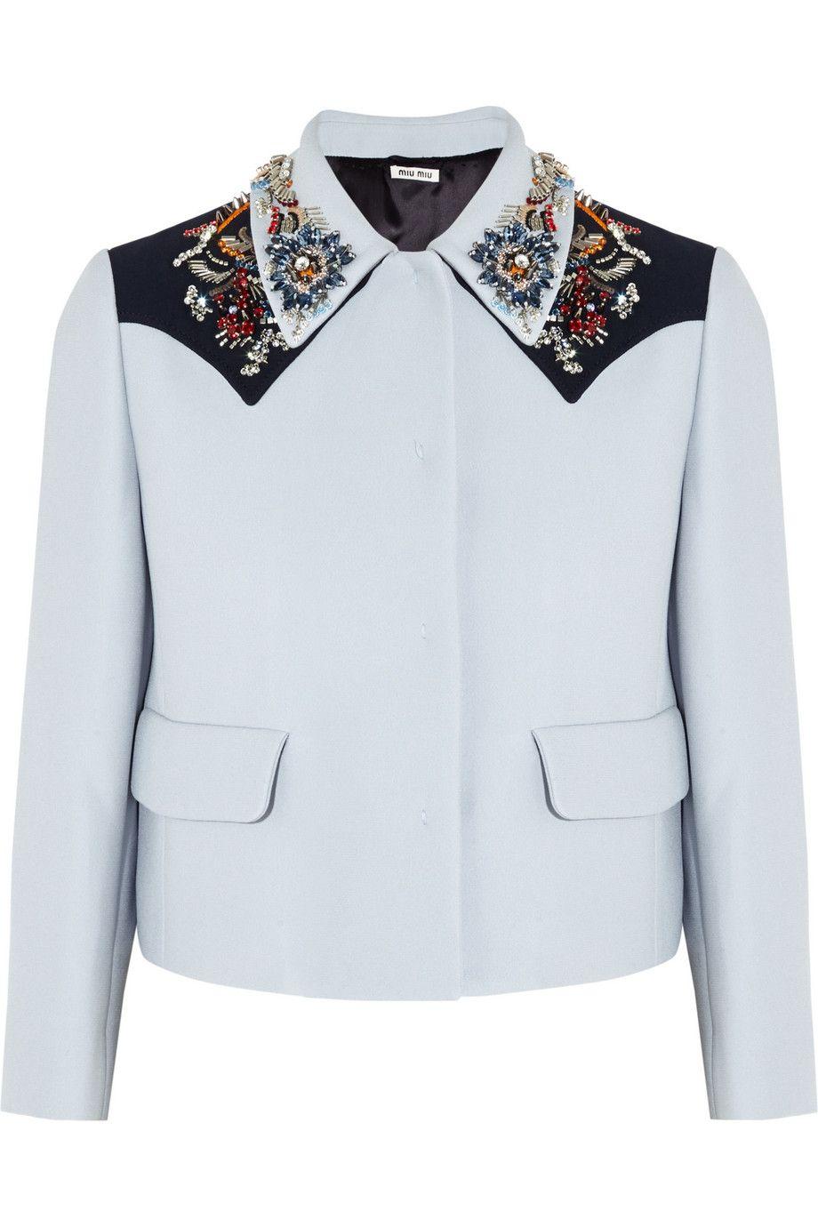 Miu MiuEmbellished crepe jacket