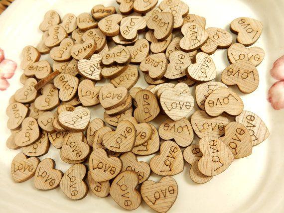 Mini Wooden Love Hearts Wedding Guest Book Wood Table Decoration Hearts Mini Heart Wooden Hearts Craft Materials