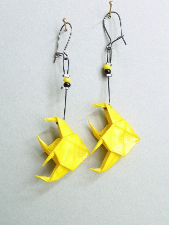 Yellow Big Fish Origami Earrings By Clairesorigami On Etsy All