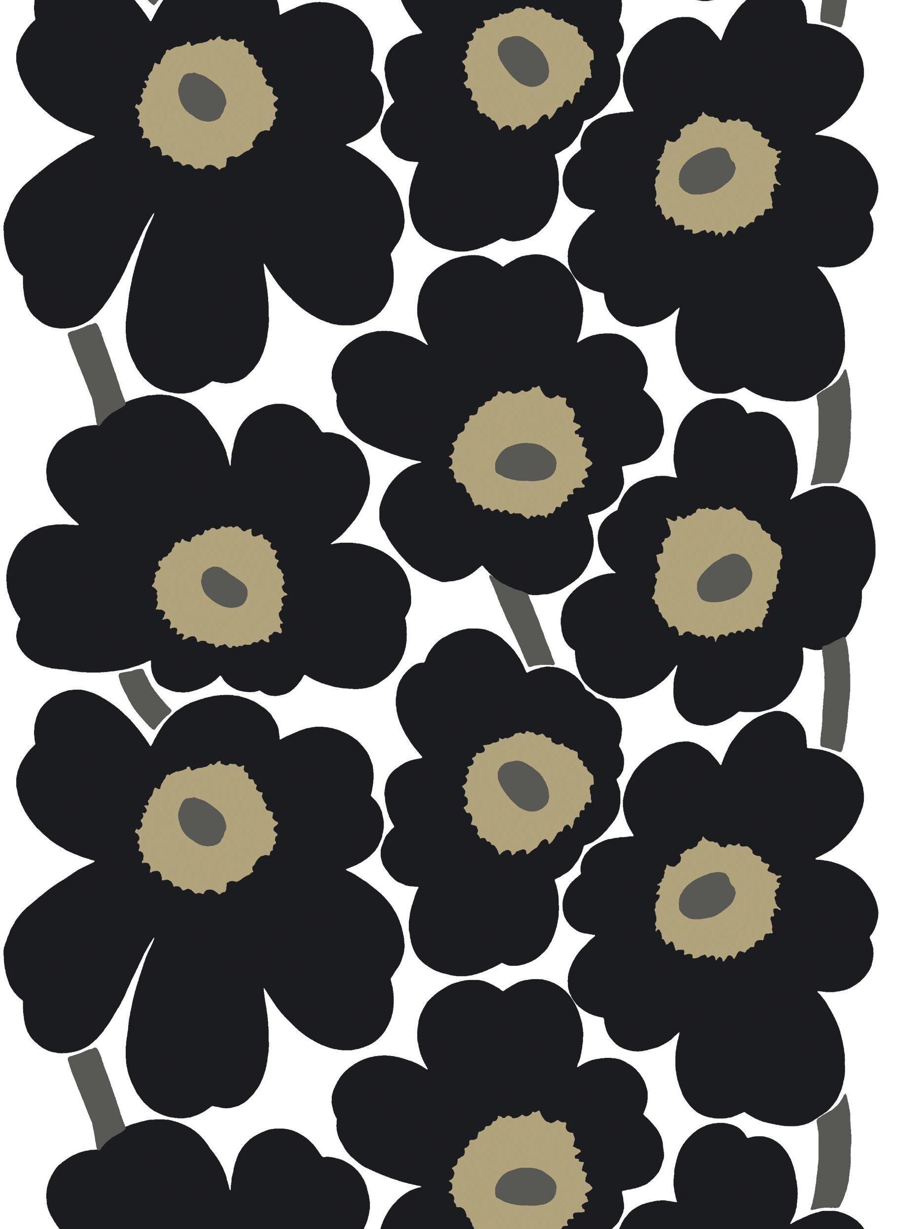 Marimekko fabric unikko unikko black poppy fabric designed