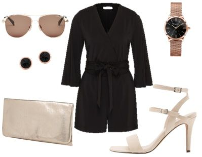 Black jumpsuit+nude heeled sandals+nude clutch+aviator sunglasses+earrings+watch. Summer evening outfit 2016