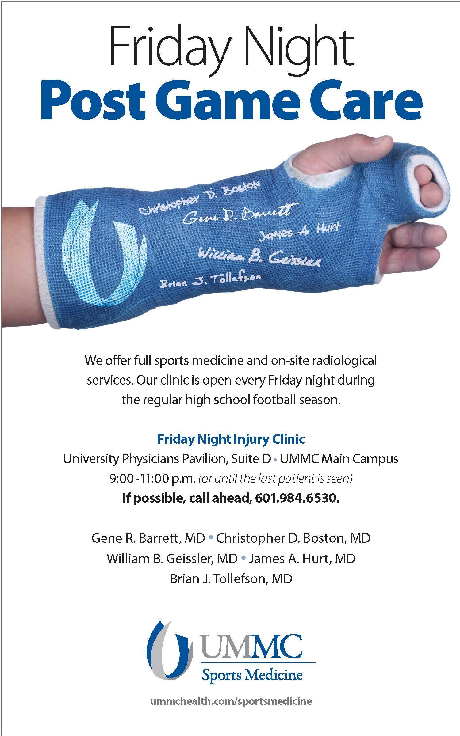 UMMC Sports Medicine Friday Night Injury Clinic print ad
