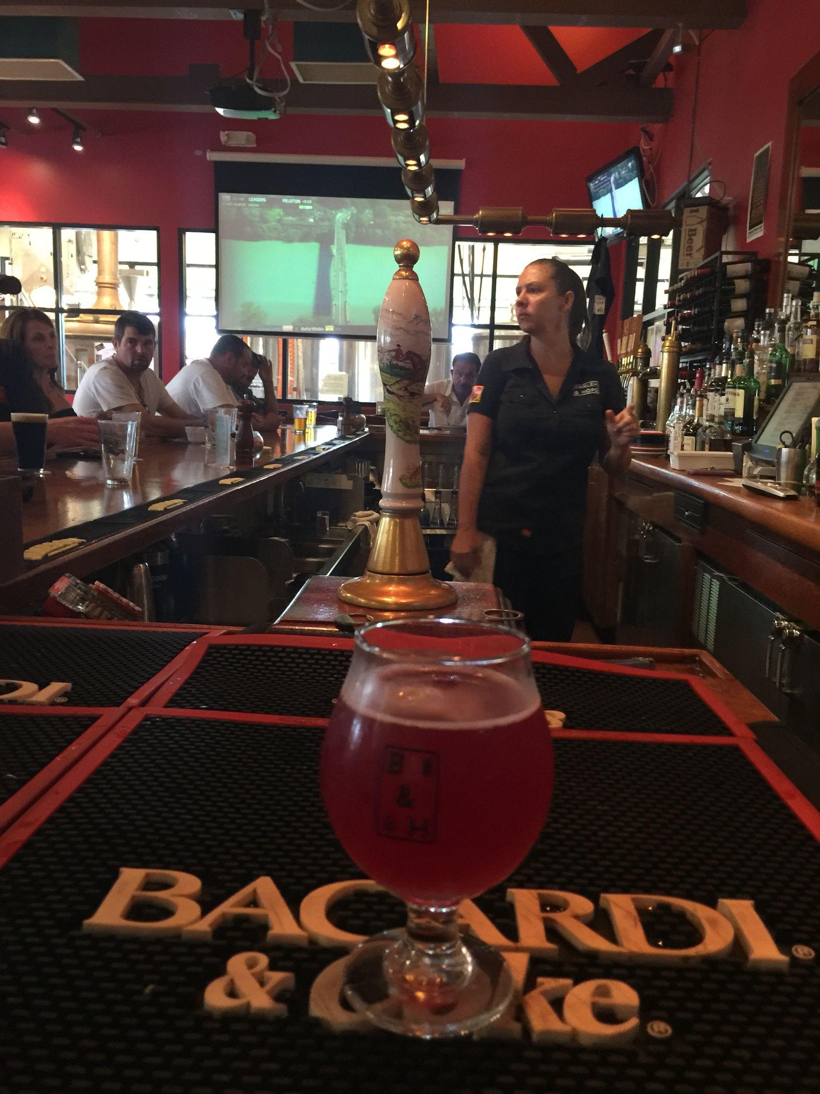 Mara behind the bar at Barley and Hops just off Rt. 80.