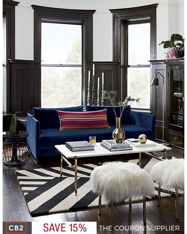 tandom navy sofa save 15 off of your next purchase from cb2 coupon