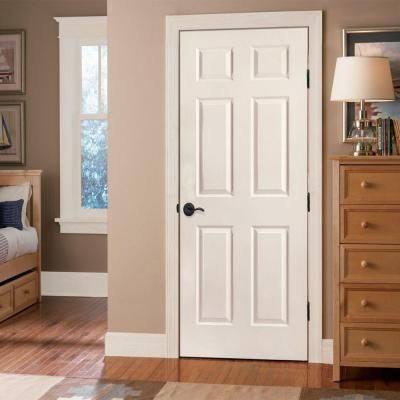 Masonite 28 In. X 80 In. Smooth 6 Panel Hollow Core Primed Composite Single  Prehung Interior Door 17873   The Home Depot  $97.00