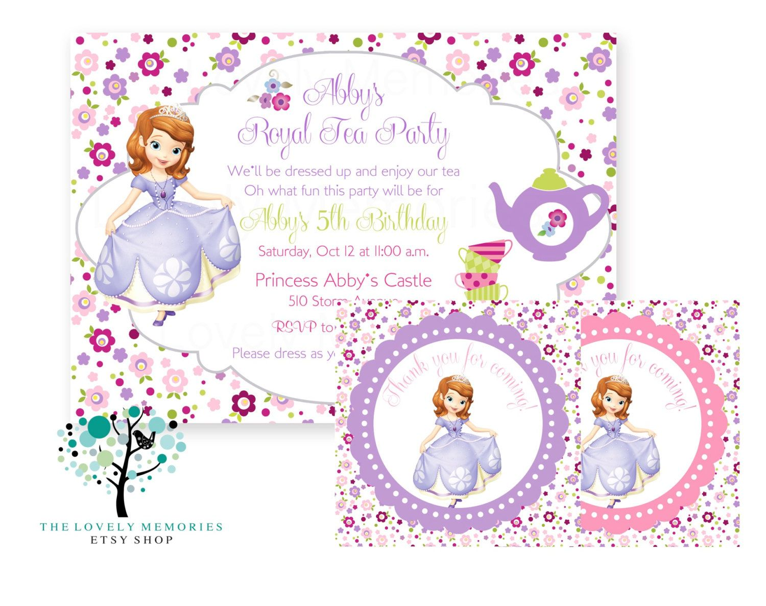 Sofia the first - Princess Birthday tea party theme Invitation set ...
