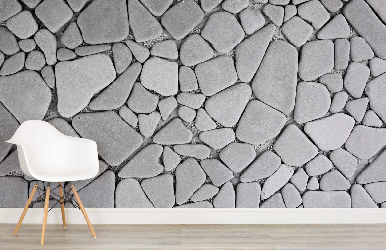 Pebble Stone Wallpaper Grey Pebble Effect