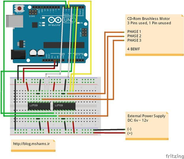 Diy Bldc Motor Driver Circuit: Arduino CDROM BLDC Motor Driver, Enhanced Performance