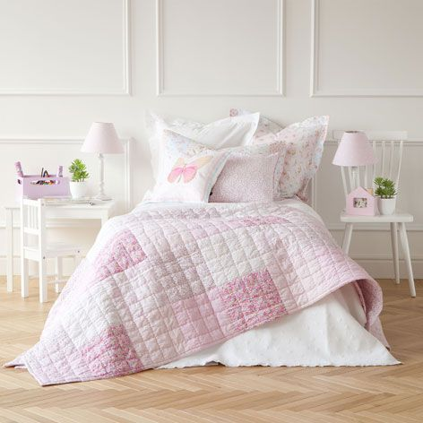 Edred n y funda de coj n patchwork edredones cama for Fundas cojines zara home