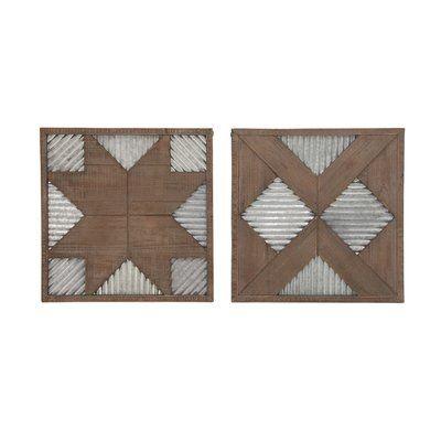 Millwood Pines 2 Piece Wood Metal Wall Decor Set