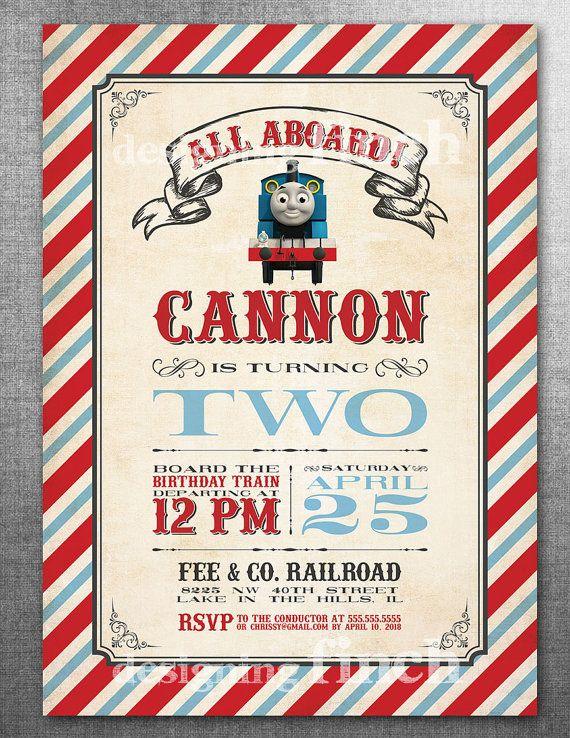Vintage Train Birthday Invitation Or Thomas The By DesigningFinch