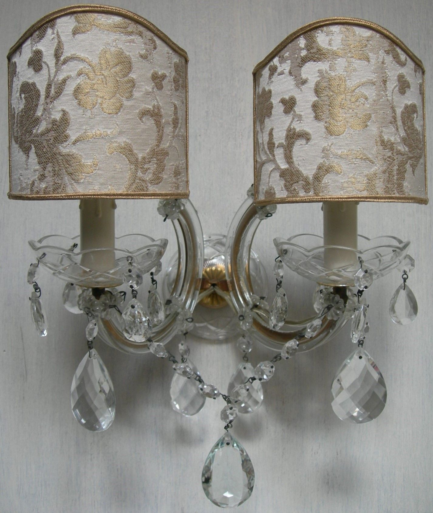 Pair of Italian Antique Maria Theresa Crystal Wall Sconces with