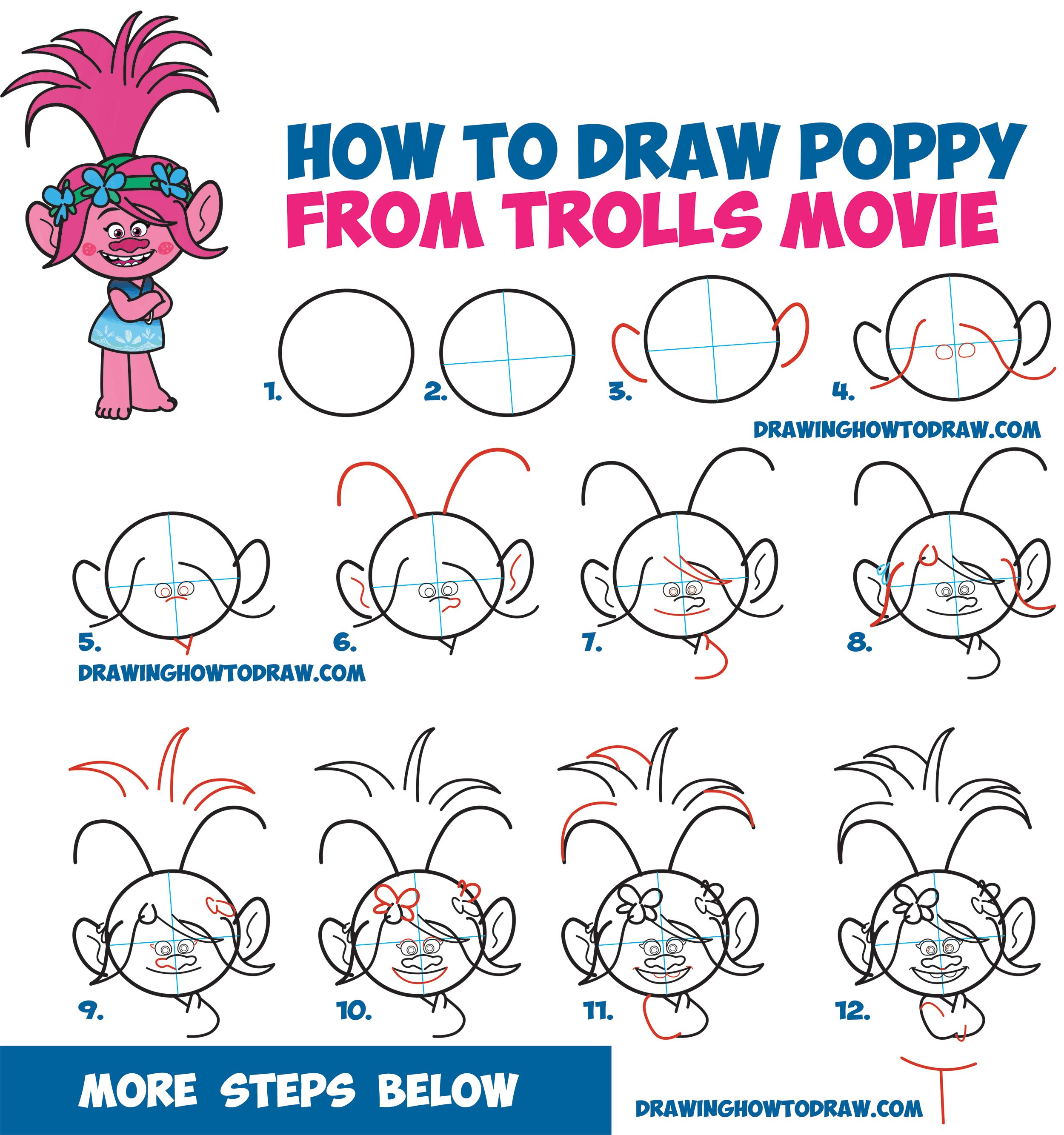 How to Draw Poppy from the Dreamworks Trolls Movie - Easy Step by ...