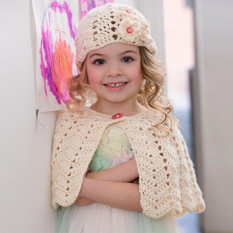 Red Heart Soft Ripple Hat & Capelet #crochet #pattern | Knitting ...