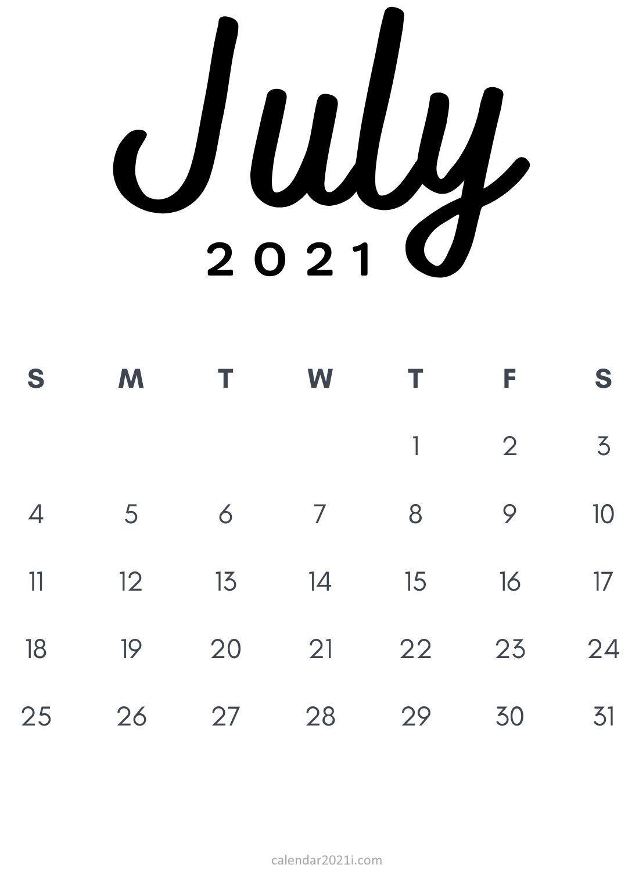 July 2021 Minimalist Printable Calendar monthly template ...