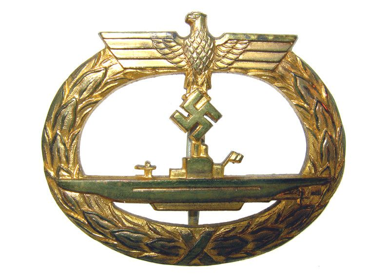 U-boat War Badge, 1939.First instituted during WWI, the badge was awarded to crews who had completed three patrols.The Nazi Germany badge, awarded after two patrols, was  similar to the WWI one with the German Eagle and swastika replacing the crown and a more modernized submarine facing towards the left.Although the completion of two war patrols might seem a lowly requirement, a typical U-boat war cruise would often run into months at a time, with the crew exposed to constant danger.