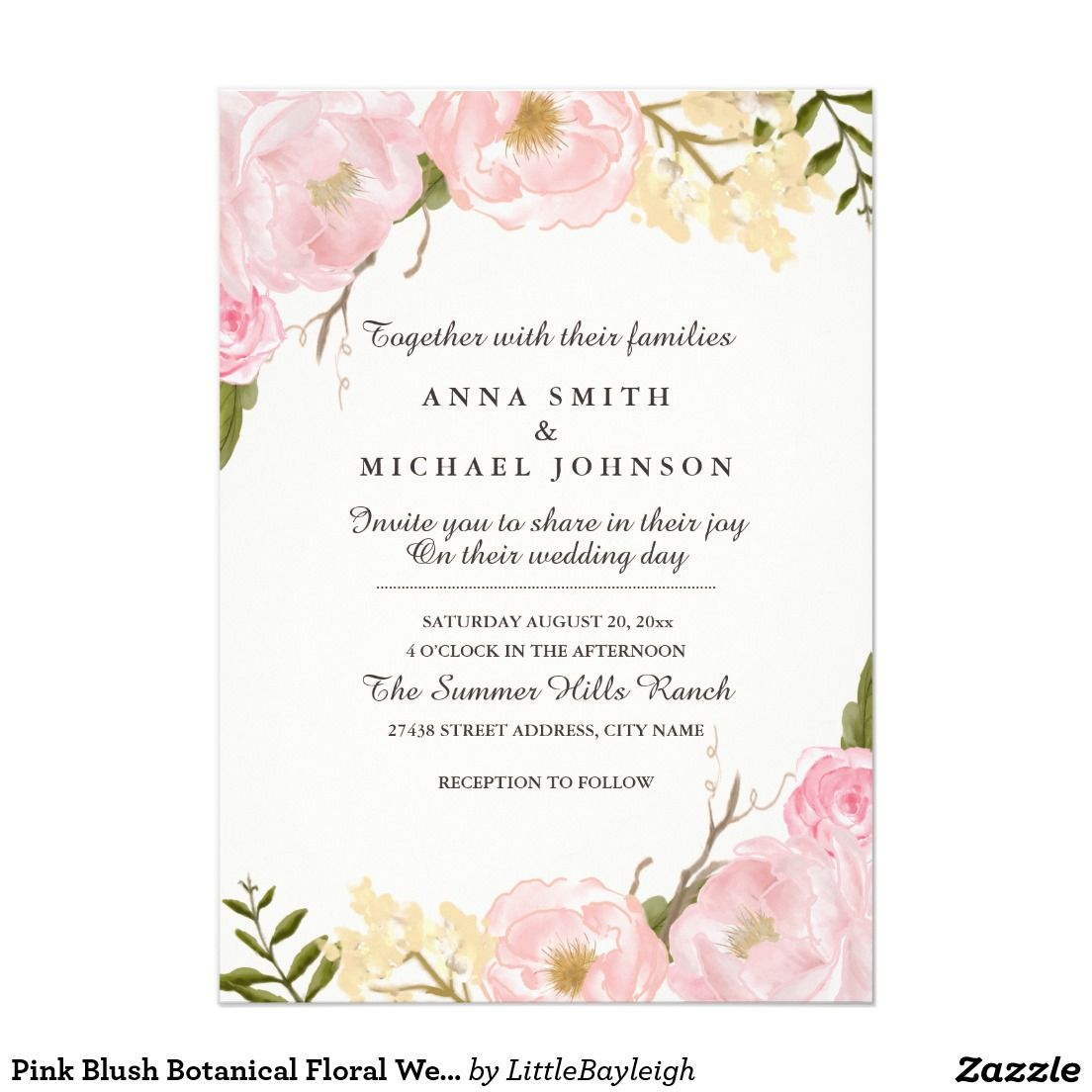 Pink Blush Botanical Floral Wedding Invitation   Floral wedding and ...