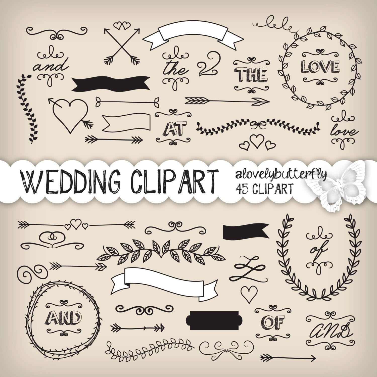 Wedding laurel clipart wedding invitation by alovelybutterfly ...