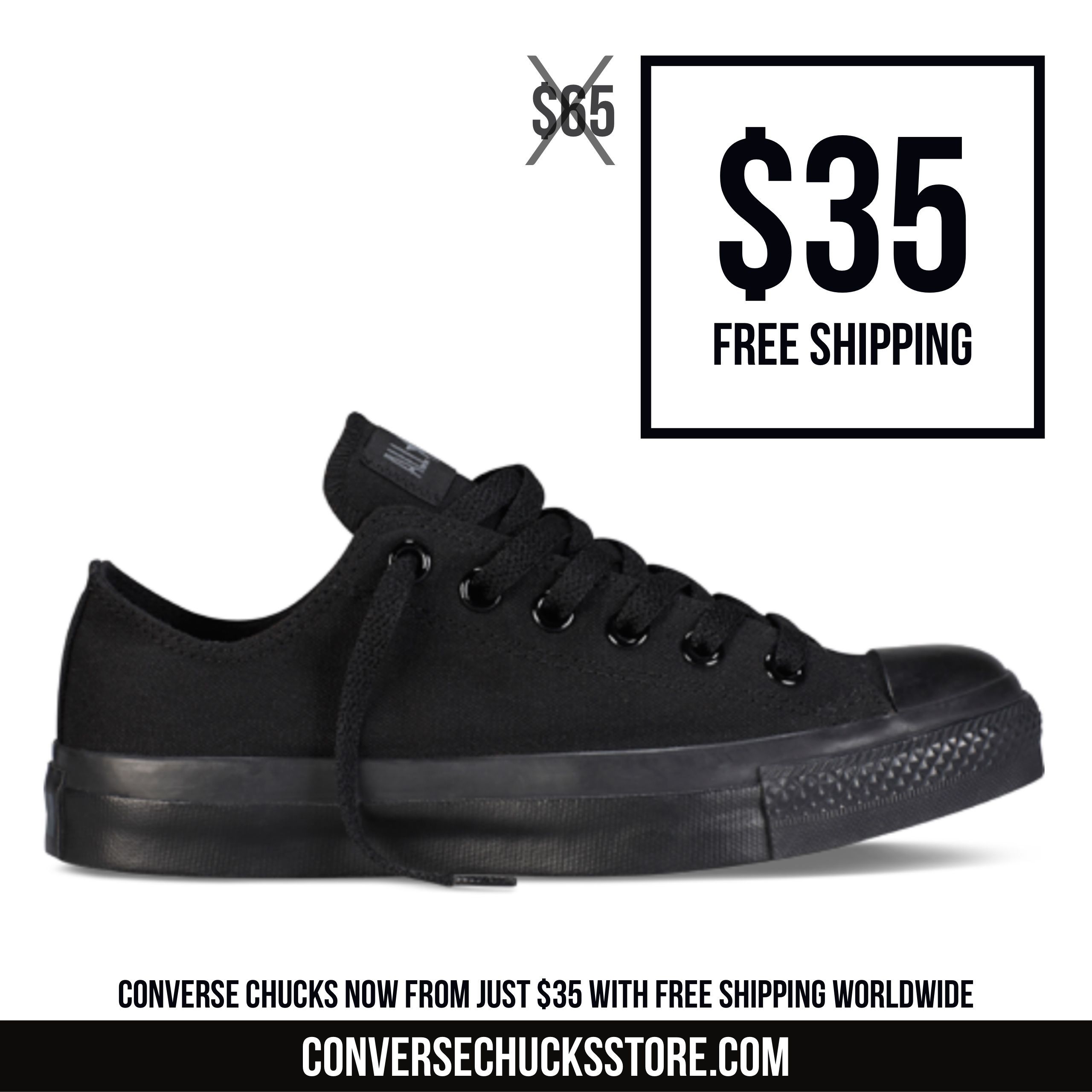 94653c7a14de Black Monochrome Lo-top Converse Chuck Taylors from  35 with free worldwide  shipping. Order