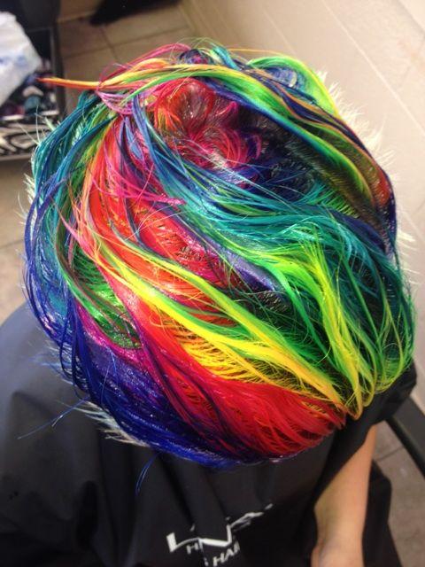Rainbow Hair Tutorial How To Rainbow Hair Blonde Hair With Highlights Hair Styles