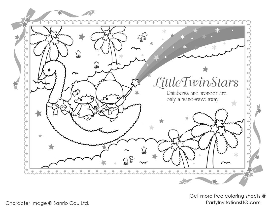 little twin star coloring pages 2 - Star Coloring Page 2