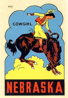 Vintage Nebraska Travel Decal Sticker Vintage Travel Posters Vintage Cowgirl Travel Stickers