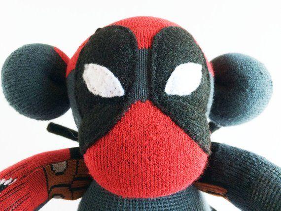 Deadpool Red Sock Monkey Comic Sock Monkey Black and Red Sock Monkey Deadpool Plush Sock Monkey Deadpool Sock Monkey