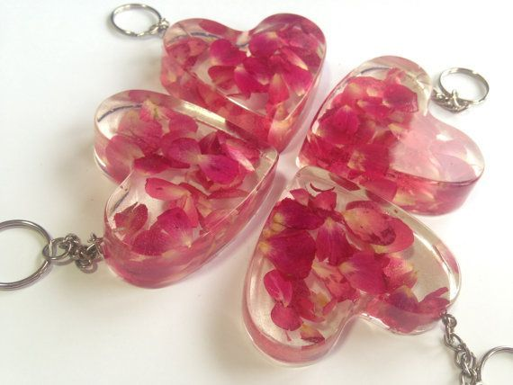 Pressed Flower Resin Love Heart Keyring Keychain Bag Charm Resin Jewelry Making Making Resin Jewellery Resin Charms