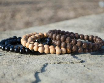 Large Wooden Beads Bracelet Natural Bead Beaded Mens Wood