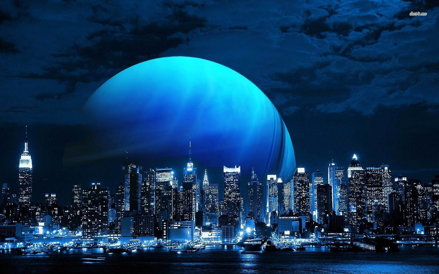 Pianeta blu sopra la skyline di new york city magic blue - New york skyline computer wallpaper ...
