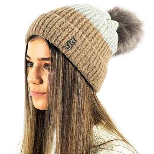 431f7c998c7 TOSKATOK® Ladies Womens Winter Warm Cosy Two Tone Beanie Bobble HAT with  Large Faux Fur POM POM-Camel Grey