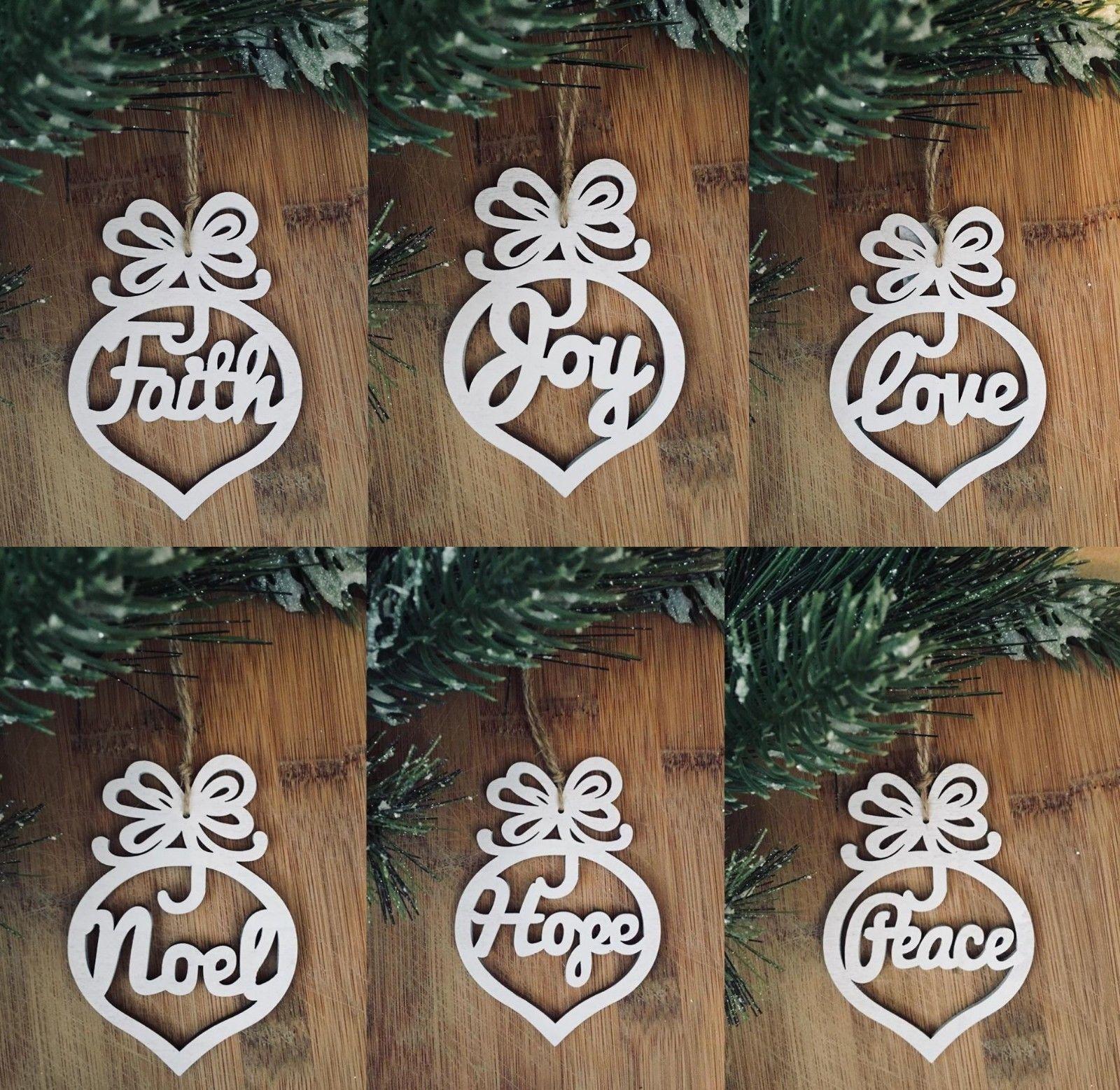 6x rustic wooden white Nordic hanging xmas decoration NOEL PEACE HOPE JOY FAITH