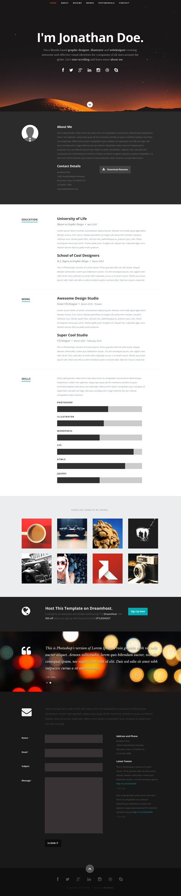 Free One Page Ceevee Responsive HTML Template | Free download ...