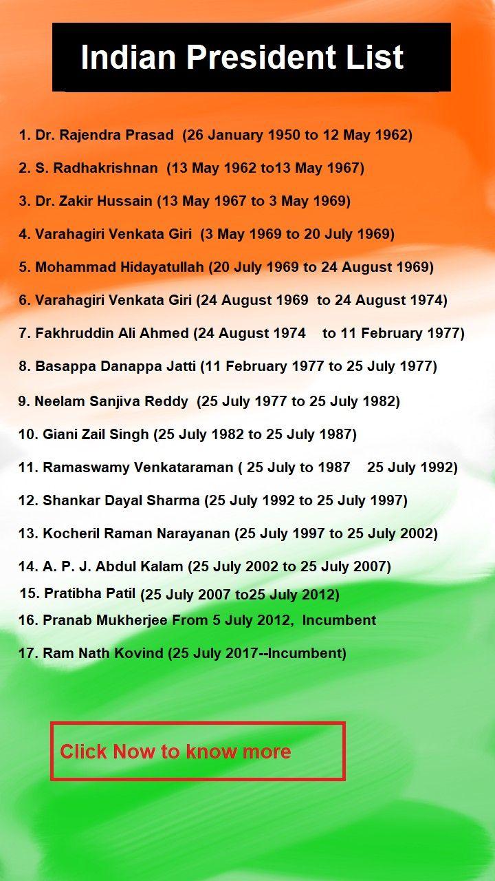 All President of India List till 2020 - President