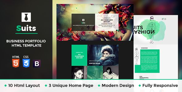 Suits - Business Portfolio HTML Template • Download theme ➝…