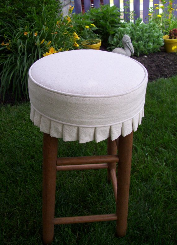 Round Bar Stool Slipcover With Knife Pleats Canvas Barstool Cover Or Without Cushion