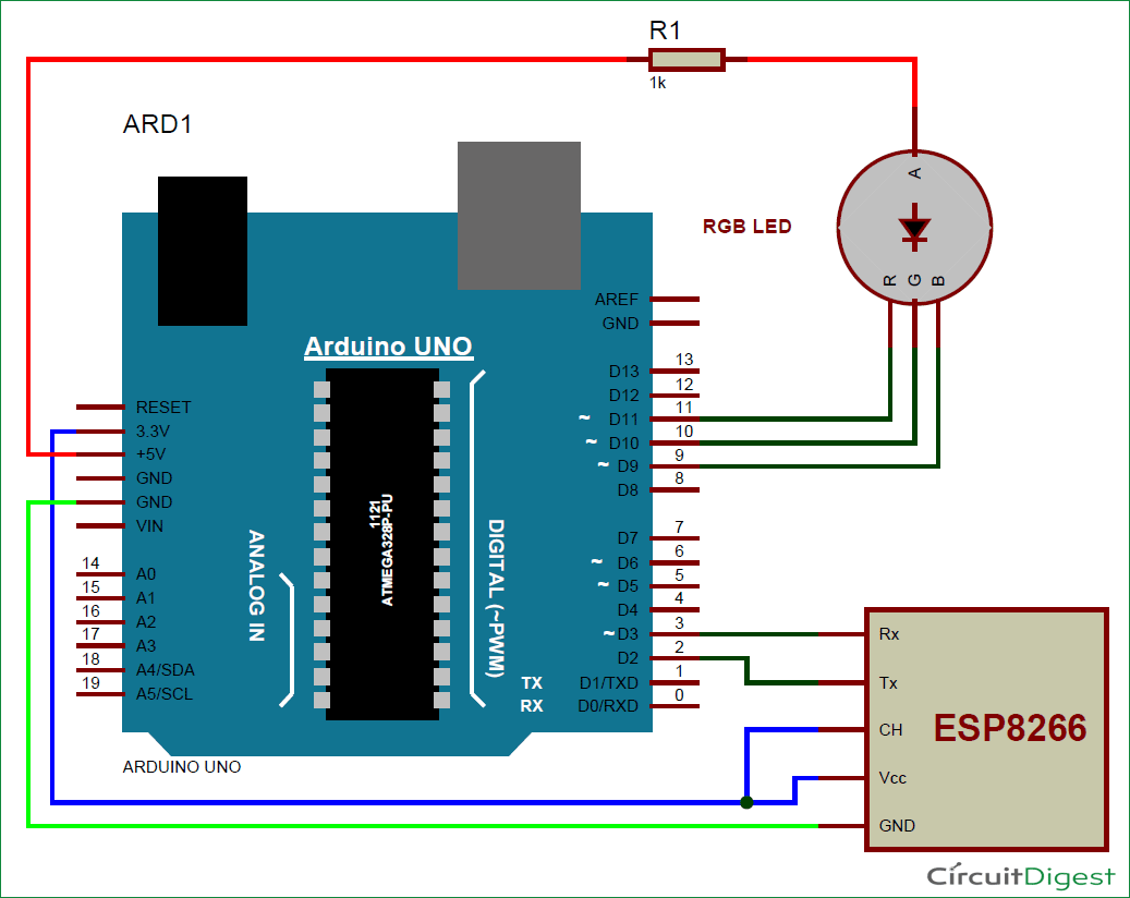 Controlling Rgb Led Using Arduino And Wi Fi Arduino Rgb Led Circuit Diagram