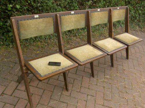 Antique Vintage Wooden Folding Bench Cinema School Seats Chairs Ebay