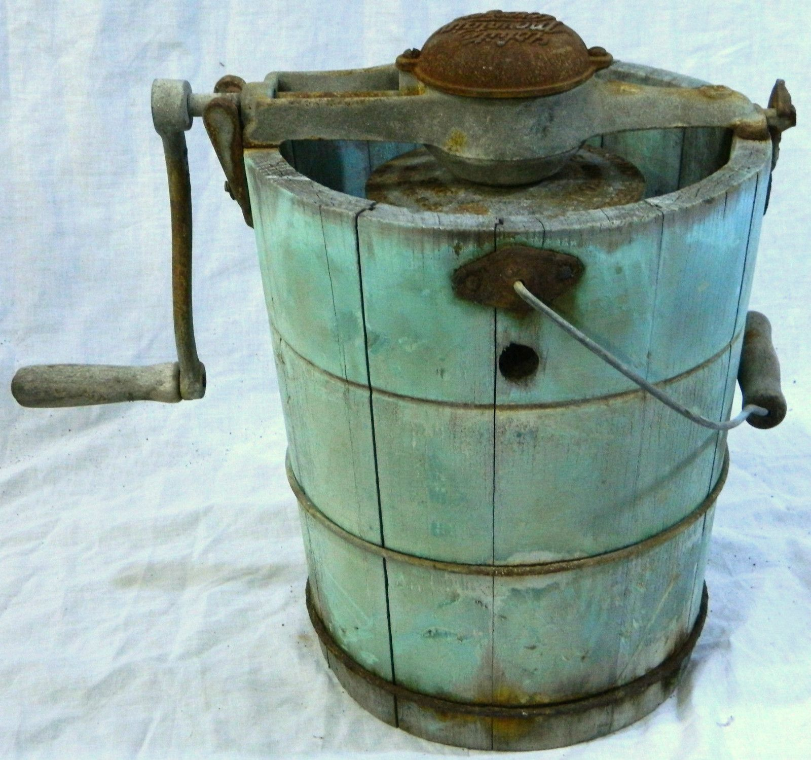 antique white mountain ice cream maker freezer machine w hand crank