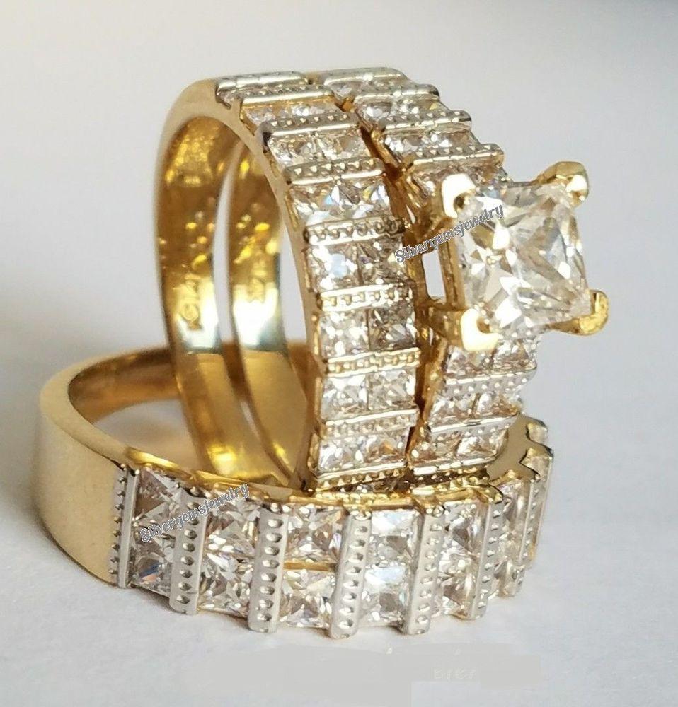 10K Yellow Gold His Hers Matching Trio Set Diamond Wedding