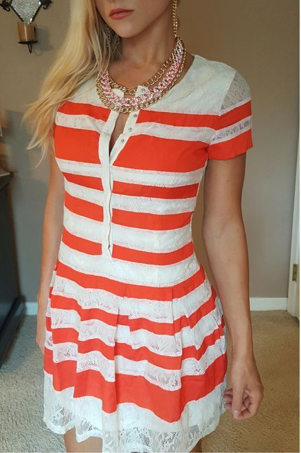 Fully Lined Lace Dress from Lucy Paris! Ivory White with Coral Stripes.