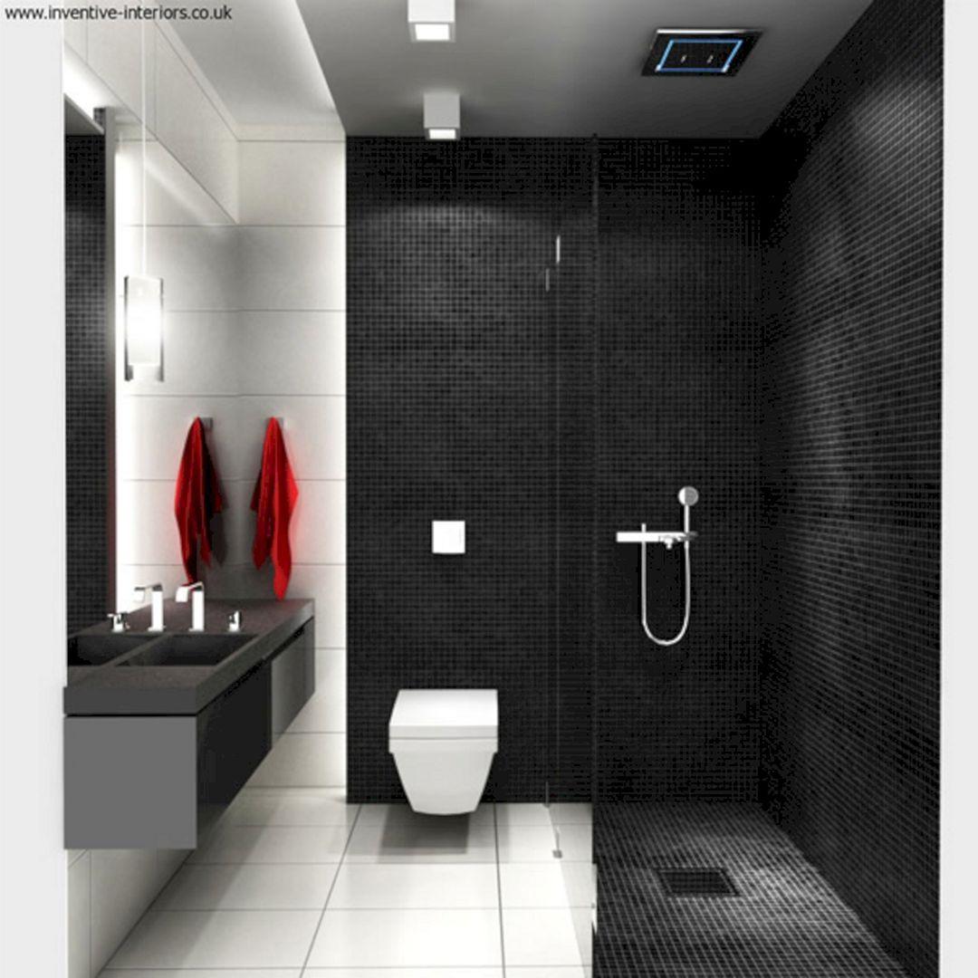 65 Best Black Bathrooms Interior Ideas For Cool Bathroom Design Freshouz Com White Bathroom Tiles Black Bathroom Small Bathroom Interior