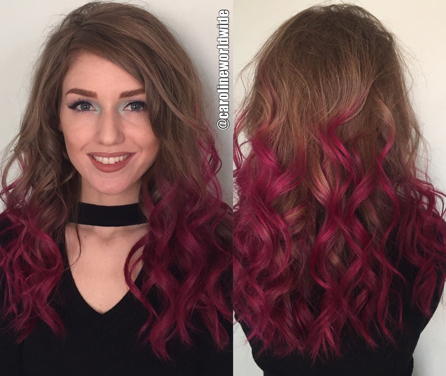 Medium Long Natural Brown Hair With Magenta Ombr Had Been Coloring
